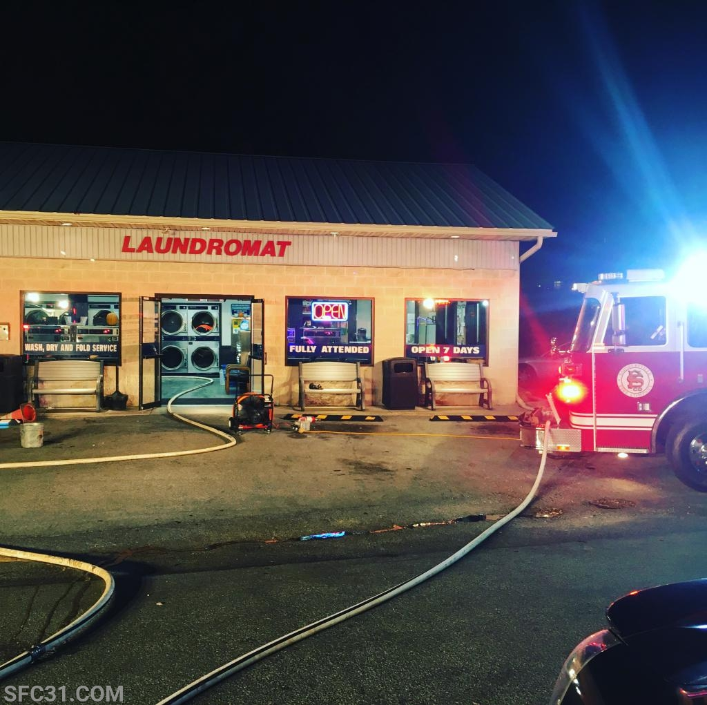 The Rainbow Laundromat was reported to be on fire.