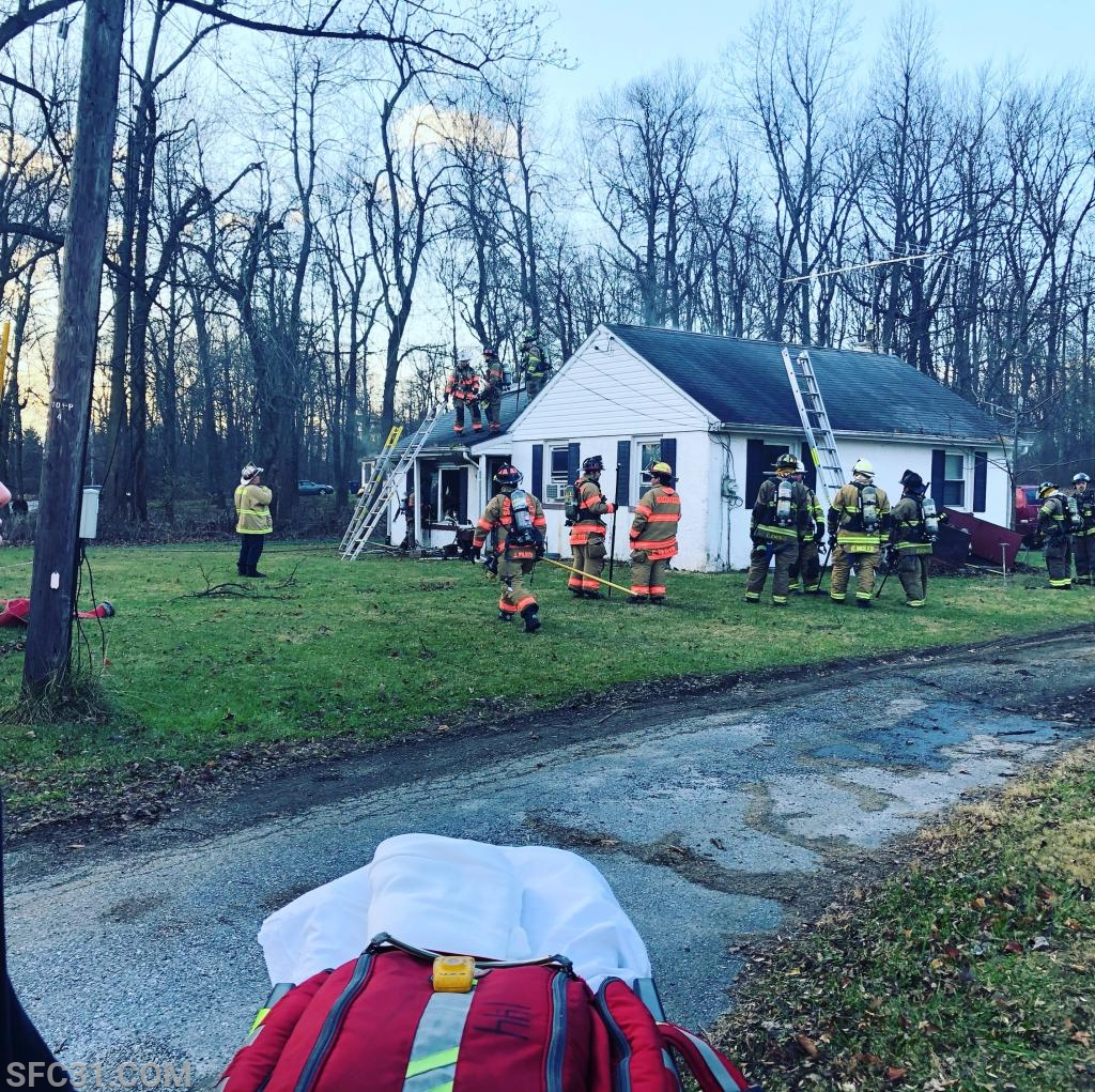 A house was on fire in the 100 block of Lilly Road in West Caln Township.