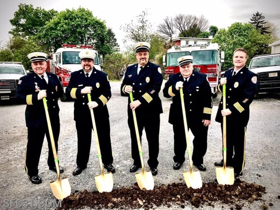 Past President Dave Reynolds, Fire Chief Adam Grossman, Past Fire Chief Kevin Supplee, Past Fire Chief James Supplee and President Erik Brecht, at the ground breaking ceremony for the new building in May 2020.