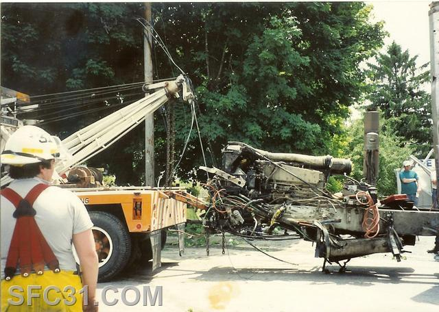 Assistant Chief Supplee at a tractor trailer accident in Sadsburyville 1993.