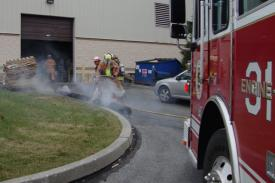 A piece of machinery was on fire and extinguished inside a business on Stewart Huston Drive in Sadsbury Township on Monday.