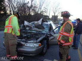 SFC Firefighters on scene of a vehicle accident in Sadsbury Township.