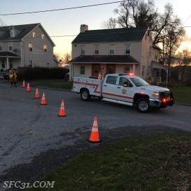 Utility 31 and Fire Police Officers shut down Route 10 in West Fallowfield Township.