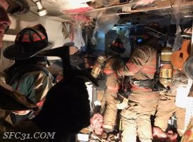 Sadsburyville firefighters overhaul the fire room on North Park Avenue.