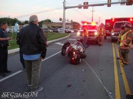 A motorcycle accident on Route 10.