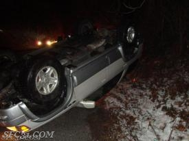 Black ice causes vehicle overturned on the Route 30 Bypass.