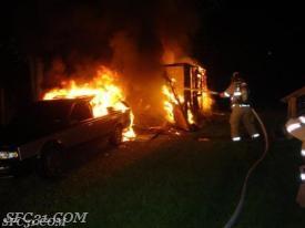 Shed fire on Washington Avenue.