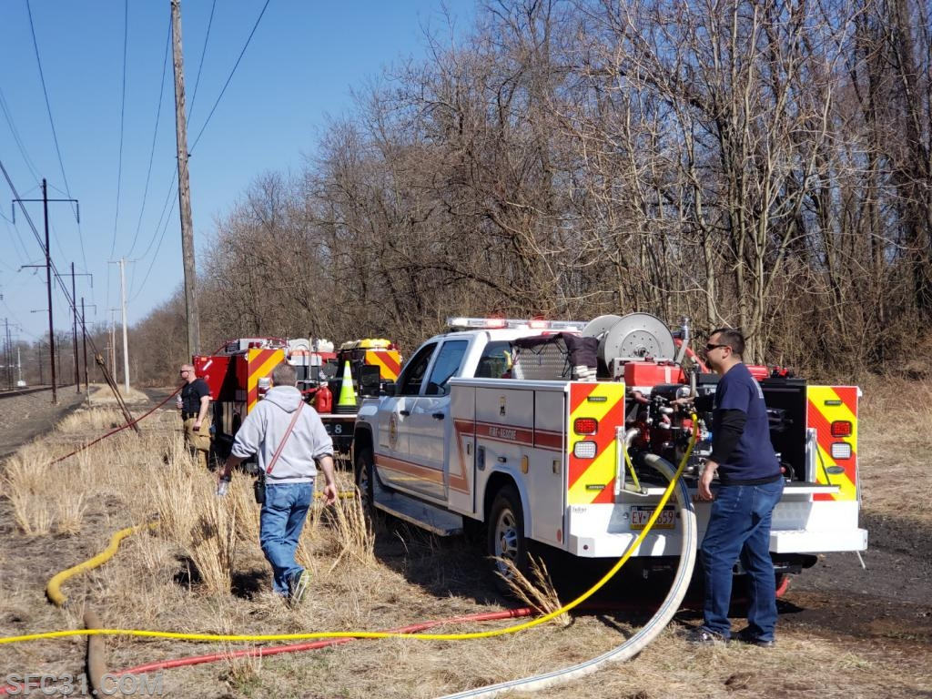 Utility 31 on scene of a brush fire along the railroad track in Southern Sadsbury.